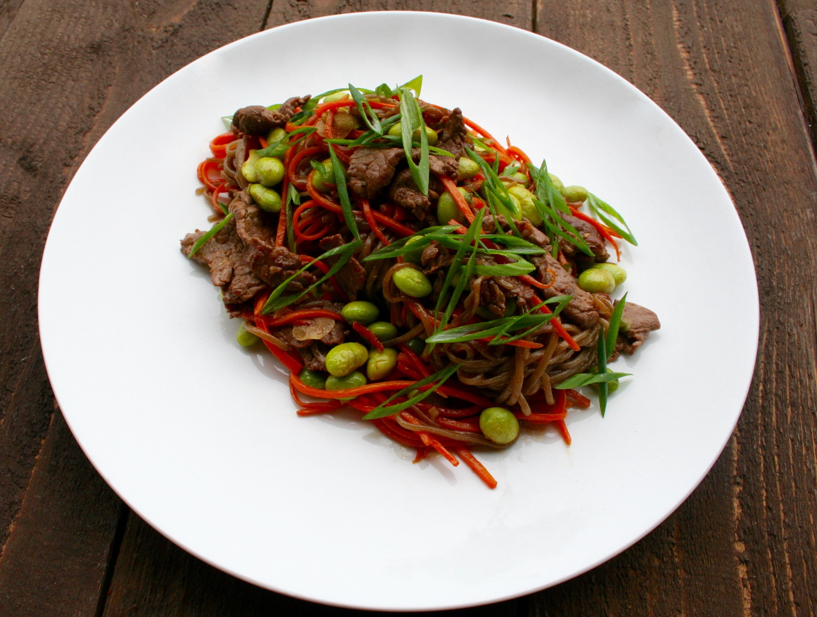 Soba and Carrot Noodle Stir Fry with Sirloin Beef and Edamame