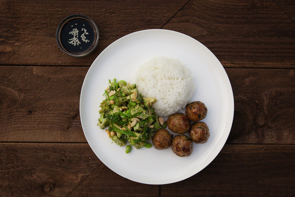 Asian Beef Meatballs with Steamed Basmati and Broccoli Edamame Salad