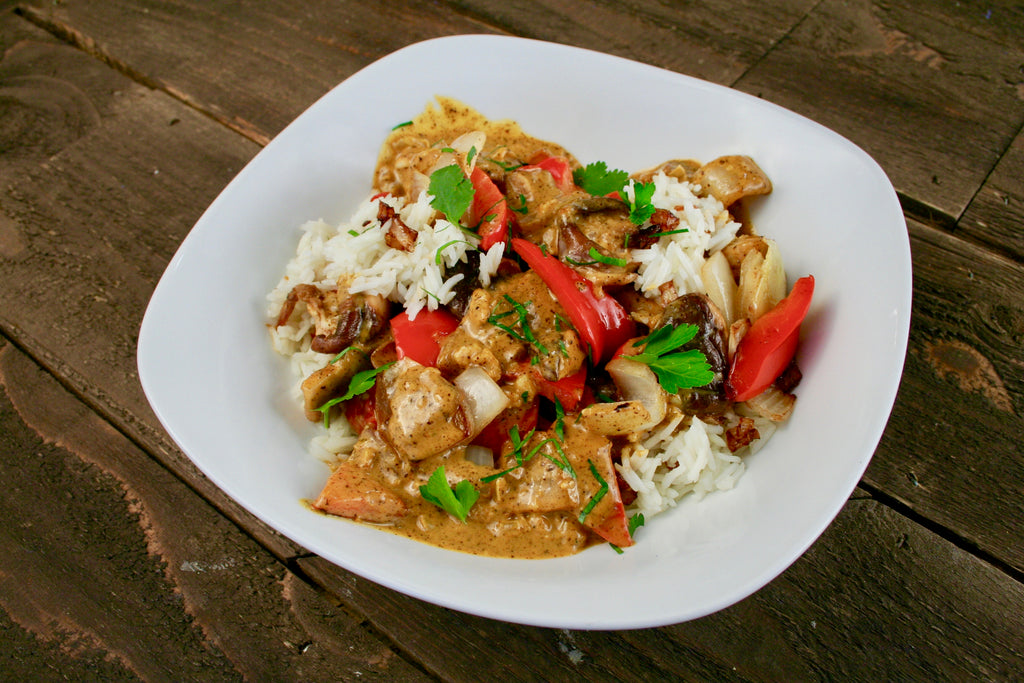 Curried Butter Chicken with Shiitakes and Sautéed Bell Peppers