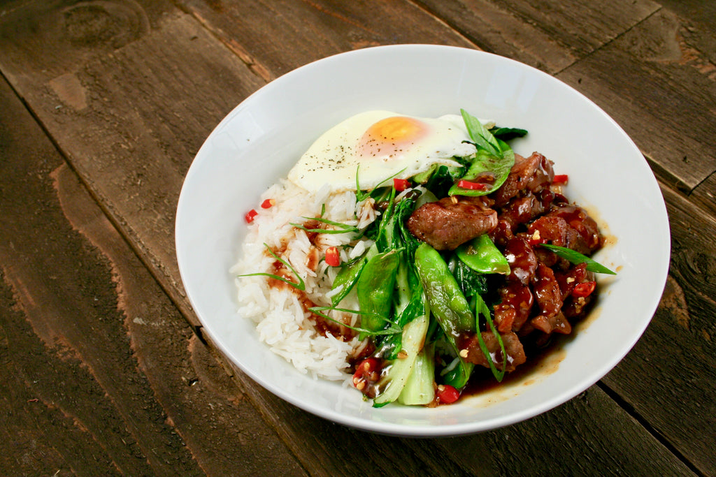 Char Sui Pork Bowl with Snow Peas and Sunny Side Egg