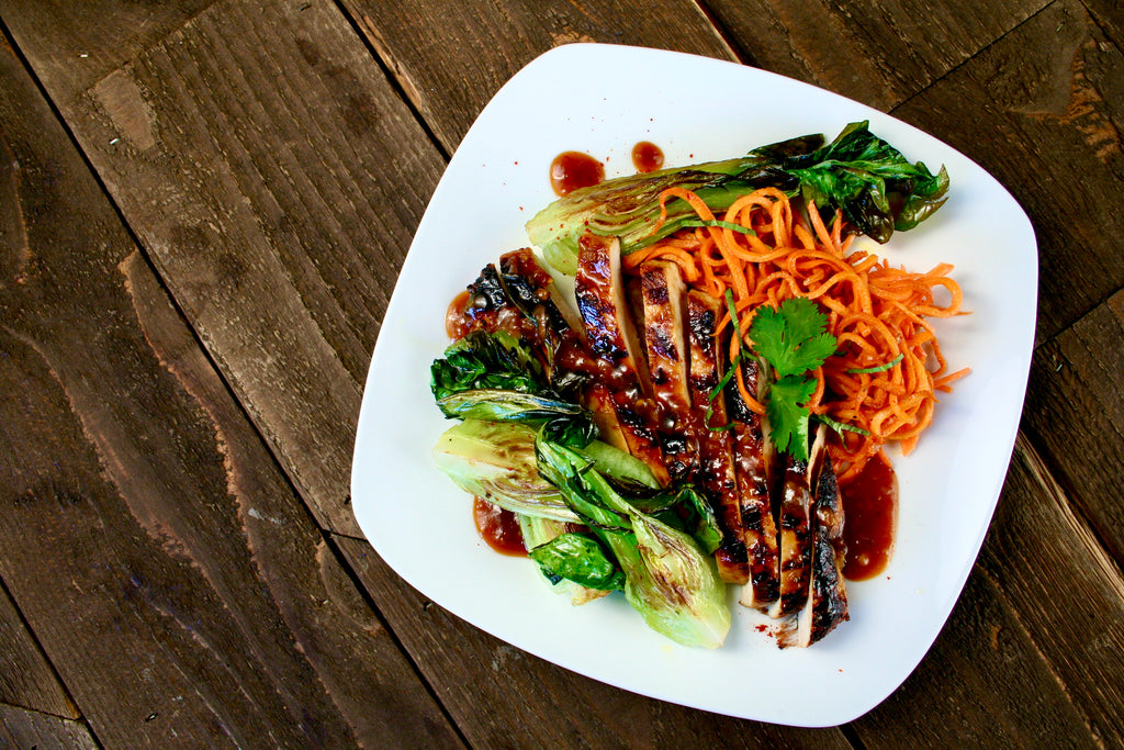 Miso Chicken with Yam Noodles and Bok Choy