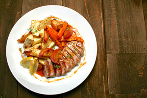 Pork Loin with Roasted Root Vegetables and Cider Glaze