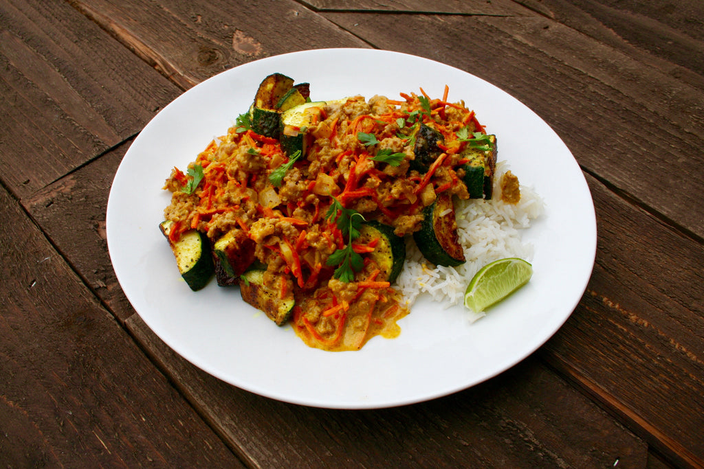 Creamy Coconut Curried Pork and Oven-Roasted Zucchini