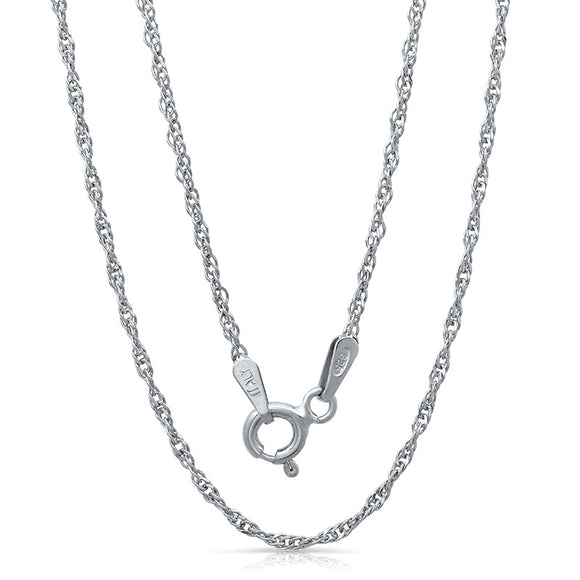 Light weight Italian silver chain with rhodium plating. WEIGHT: 1.6 GRAMS Z025SING - Zaitano