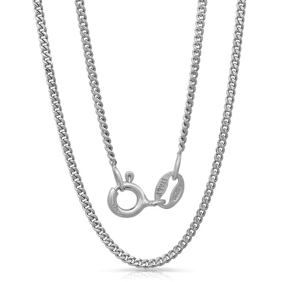 Light weight Italian silver chain with rhodium plating. WEIGHT: 2.4 GRAMS Z040GD - Zaitano