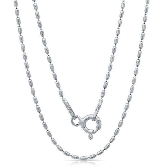 Light weight Italian silver chain with rhodium plating. WEIGHT: 1.6 GRAMS Z100CPLBAR - Zaitano