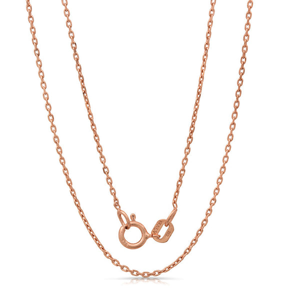 Light weight italian silver chain with rose gold plating. WEIGHT: 1.1 Grams ZRFN030FOR2DC - Zaitano