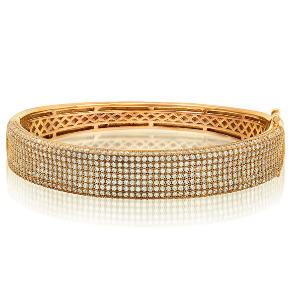 Yellow Gold plated bracelet and simulated diamonds by swarovski. - Zaitano