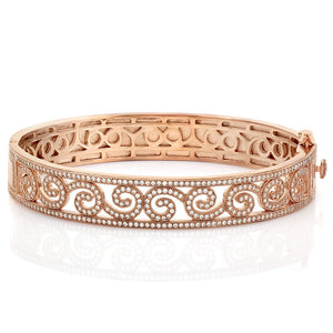 Rose gold plated bracelet and simulated diamonds by swarovski. - Zaitano