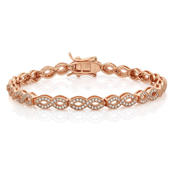 Eternal bracelet with Rose gold plated on solid silver. - Zaitano