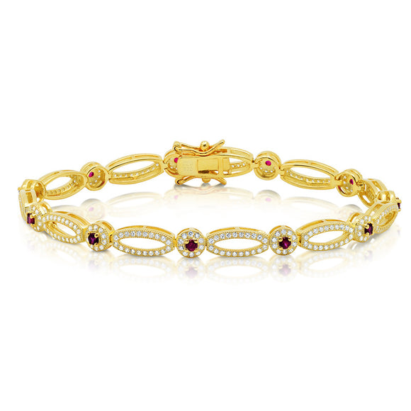 Yellow Gold Plated marquise shape bracelet with red stones. - Zaitano