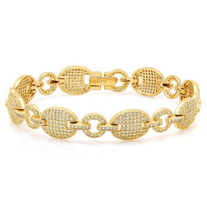 Oval shaped yellow Gold plated fashion bracelet. - Zaitano