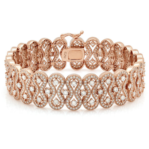 Rose gold bracelet and simulated diamonds by swarovski. - Zaitano