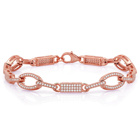 Rose gold plated bracelet and simulated diamonds by swarovski - Zaitano