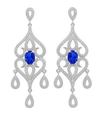 Floral design drop earrings with lab created sapphire stone. - Zaitano