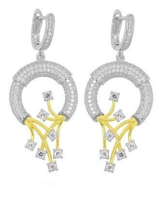 Sterling silver hollow round drop earrings with gold plated strips. - Zaitano