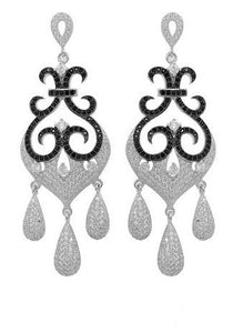 Sterling silver drop earrings with black stones and simulated diamonds by swarovski. - Zaitano