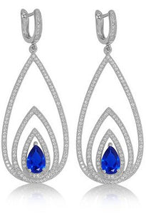 Concentric pear shaped drop earrings with lab created sapphire stone - Zaitano - Zaitano