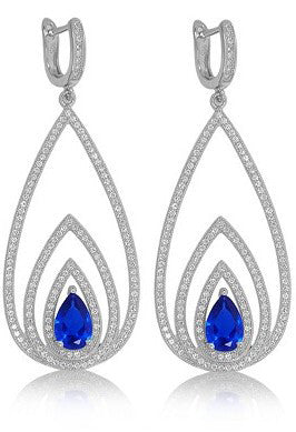 Concentric pear shaped drop earrings with lab created sapphire stone. - Zaitano