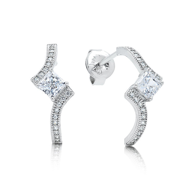 Sterling silver bonded with platinum princess cut earrings. - Zaitano