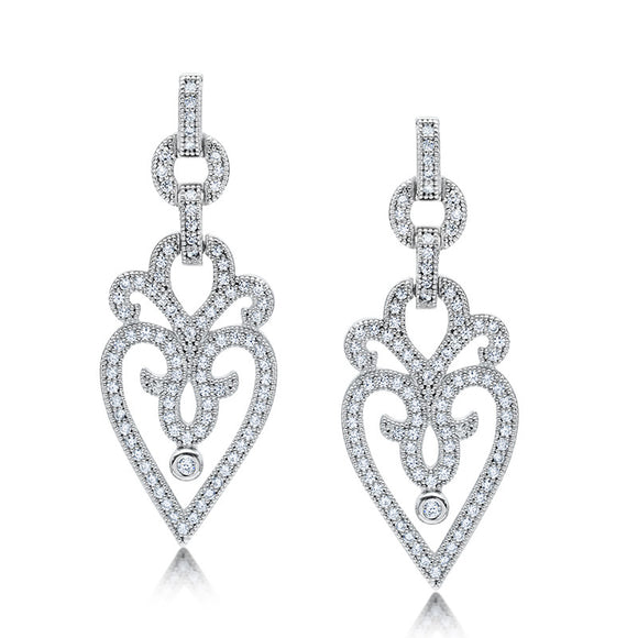 Sterling silver heart shaped drop earrings and simulated diamonds by swarovski. - Zaitano