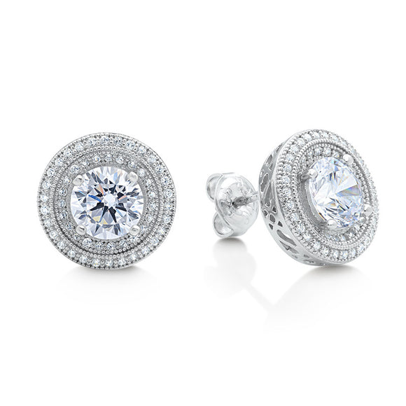 Party size double halo stud earring and simulated diamonds by swarovski - Zaitano