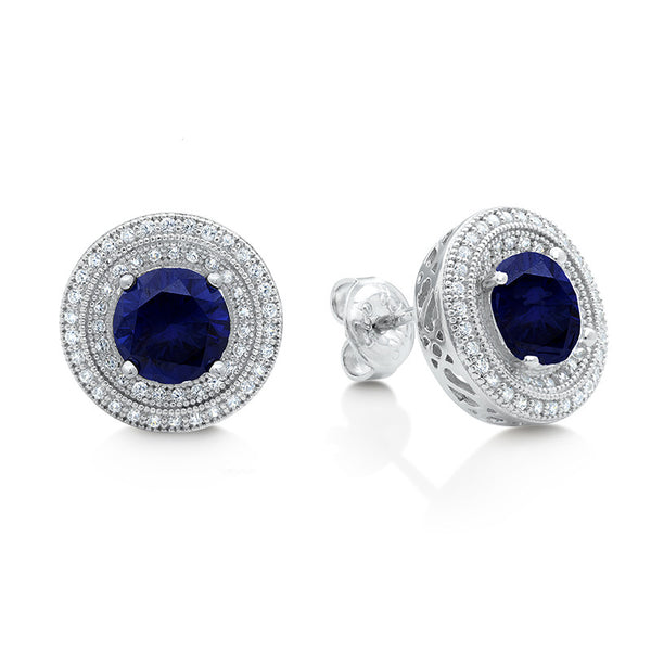 Sterling silver bonded with platinum lab grown sapphire double halo studs. - Zaitano