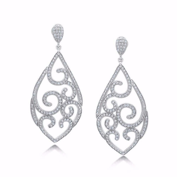 Pear Shaped Drop Earrings with Floral Design and Diamond - Zaitano