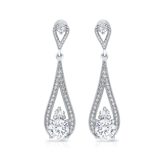 Sterling silver tear drop shaped drop earrings and simulated diamonds by swarovski. - Zaitano