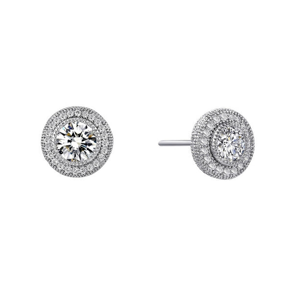 Double halo earrings simulated diamonds by swarovski - Zaitano