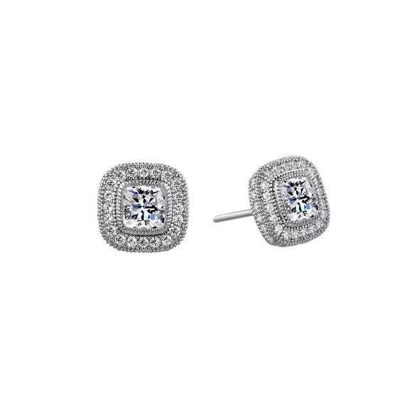 Cushion cut halo studs and simulated diamonds by swarovski. - Zaitano