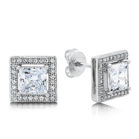 Princess cut studs and simulated diamonds by swarovski - Zaitano