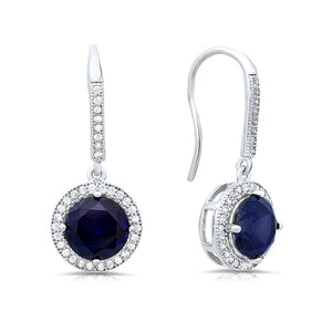 Sterling silver drop earring with lab created sapphire stone. - Zaitano