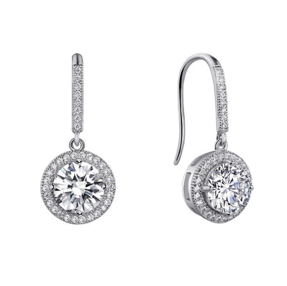 Sterling silver drop earrings with simulated diamonds by swarovski..   ZE-0219 - Zaitano