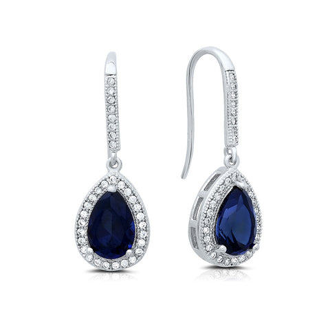 Sterling silver drop earrings with lab grown sapphire. - Zaitano