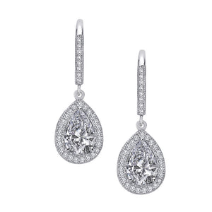 Sterling silver pear shaped drop earrings and simulated diamonds by swarovski. - Zaitano