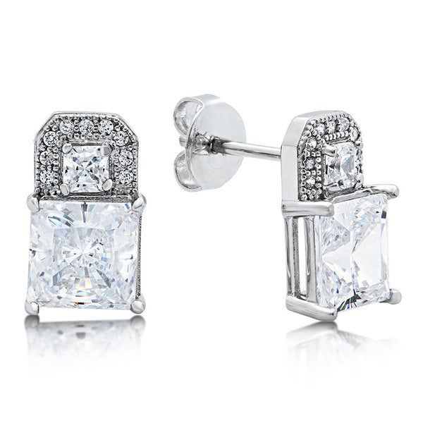 Sterling silver lock shaped drop earrings and simulated diamonds by swarovski. - Zaitano