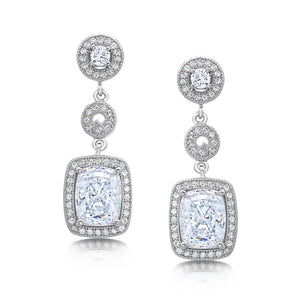 Square drop earrings with simulated diamonds by swarovski. - Zaitano