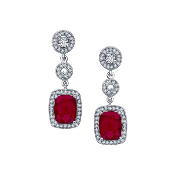 Sterling silver drop earrings with lab grown ruby stone. - Zaitano