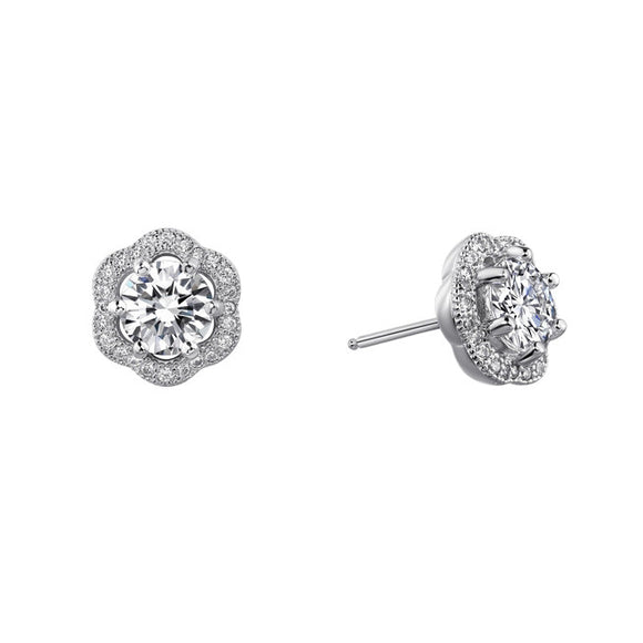 Sterling silver round brilliant stud earrings and simulated diamonds by swarovski - Zaitano