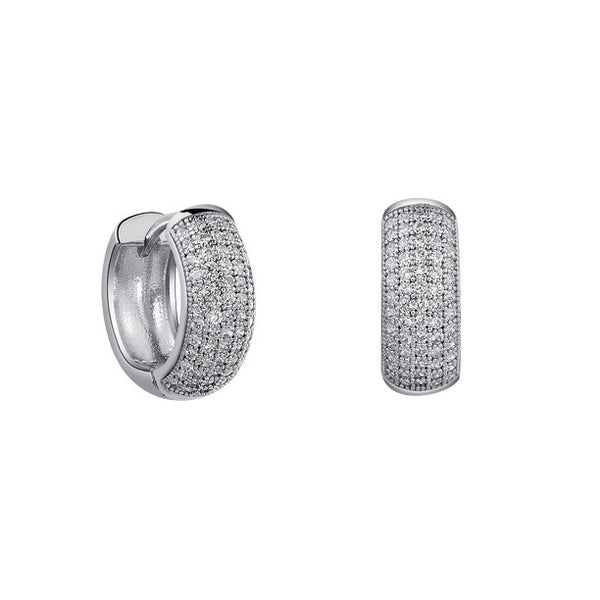 Sterling silver huggie earrings and simulated diamonds by swarovski. - Zaitano