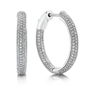Sterling silver bonded with platinum inside out pave earrings. - Zaitano