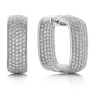 Sterling silver bonded with platinum inside out pave square hoops. - Zaitano