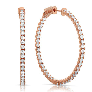 Sterling silver inside out rose gold hoop earrings. - Zaitano
