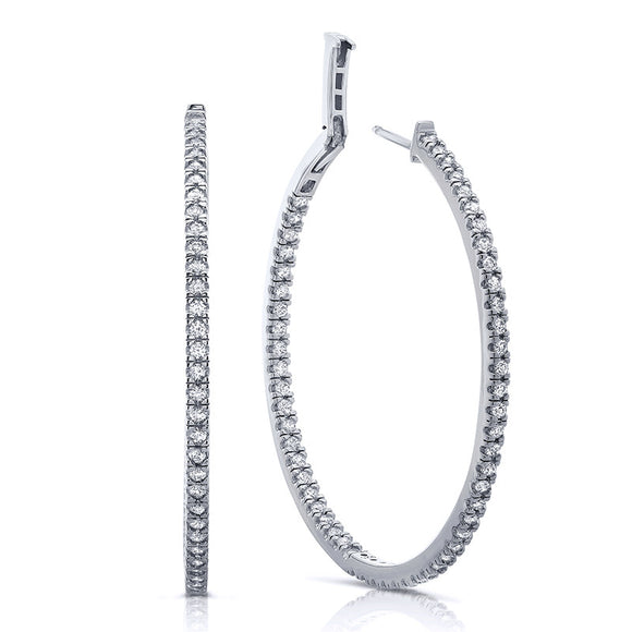Sterling silver bonded with platinum inside out hoop earrings. - Zaitano