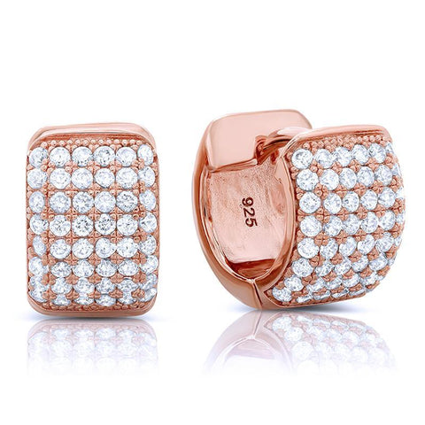 Rose gold plated huggie stud earrings and simulated diamonds by swarovski - Zaitano