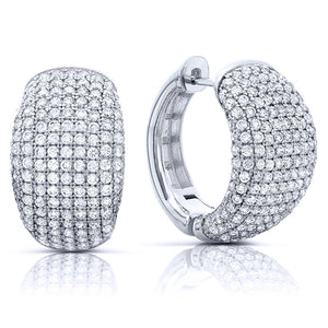 Sterling silver huggie earrings with simulated diamonds by swarovski. - Zaitano