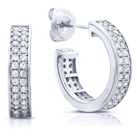 Sterling silver half hoop earrings and simulated diamonds by swarovski. - Zaitano