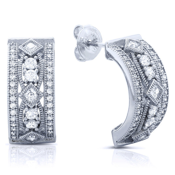 Sterling silver half C shaped stud earrings and simulated diamonds by swarovski. - Zaitano