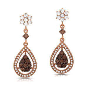 Rose gold pear shaped drop earrings and simulated diamonds by swarovski. - Zaitano